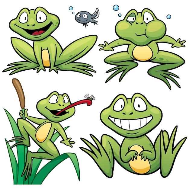 Cartoon frog character Premium Vector