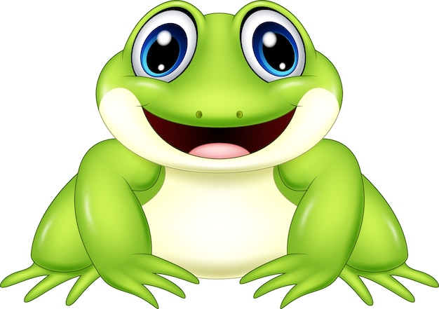 Cartoon frog isolated on white background Premium Vector