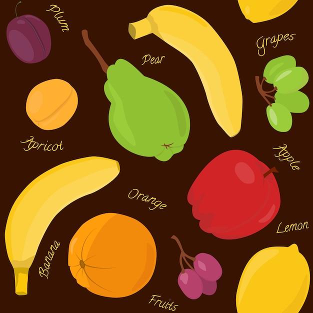 Cartoon fruit seamless pattern Premium Vector