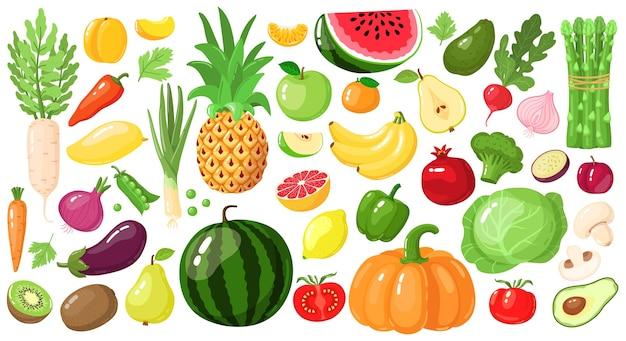漫画の果物と野菜。ビーガンライフスタイルフード、有機栄養野菜と果物、アボカド、アスパラガス、マンゴーのイラストセット。スイカとパイナップル、リンゴとバナナ、キウイフルーツ Premiumベクター