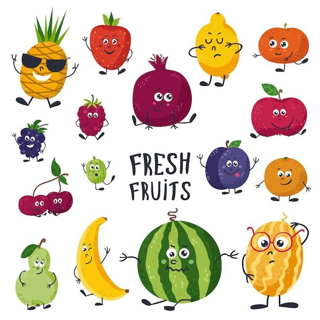 Cartoon fruits cute characters face Premium Vector