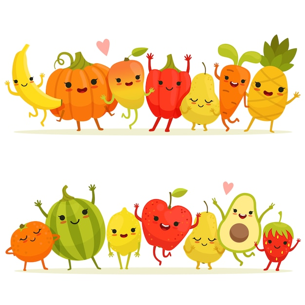 Cartoon fruits and vegetables in group Premium Vector