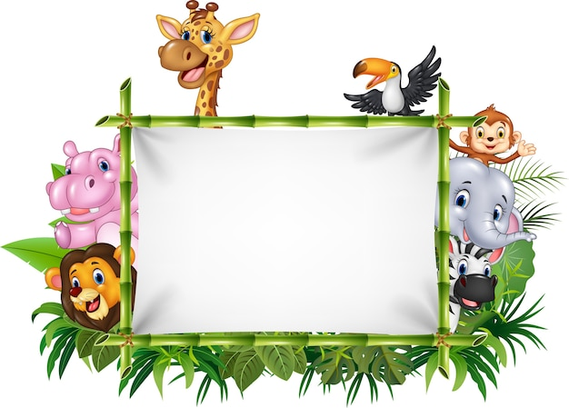 Cartoon funny african animals with blank sign Premium Vector