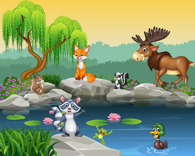 Cartoon funny animal collection on the beautiful nature background Premium Vector