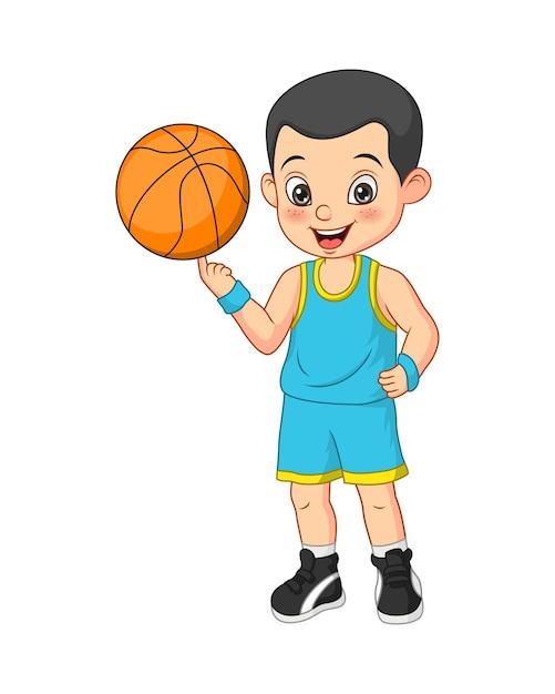 Мультфильм смешной мальчик баскетболист Premium векторы