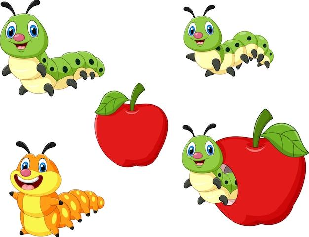 Cartoon Funny Caterpillar Collection Set Premium Vector