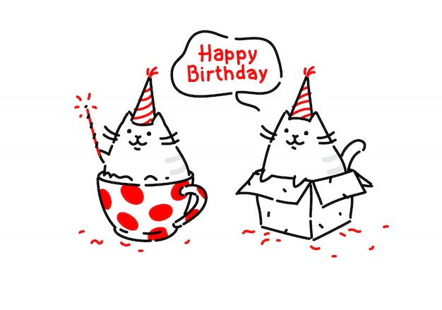 Cartoon funny cats. kitty wishes happy birthday sitting in a box and in a cup. vector. Premium Vector