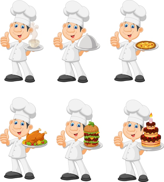 Cartoon funny chef holding a silver platter collection set Premium Vector