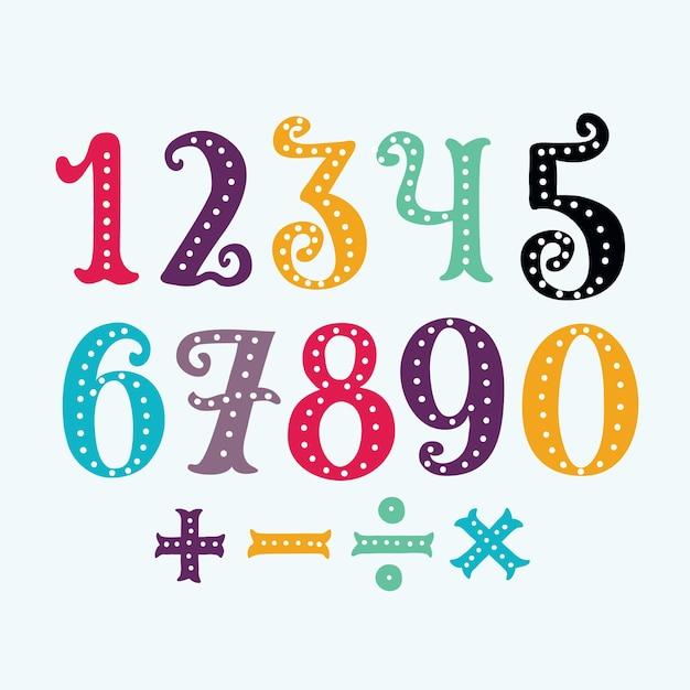 Мультфильм смешные красочные иллюстрации цифры от 0 до 9 Premium векторы