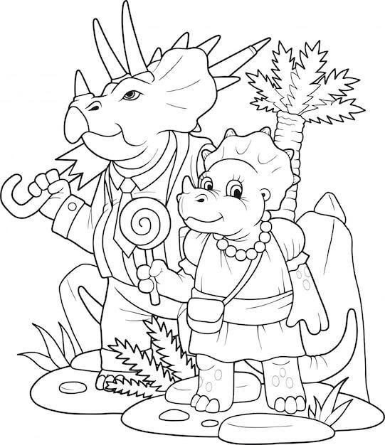Мультфильм смешные динозавры раскраски Premium векторы