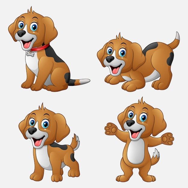 Cartoon funny dogs collection set Premium Vector
