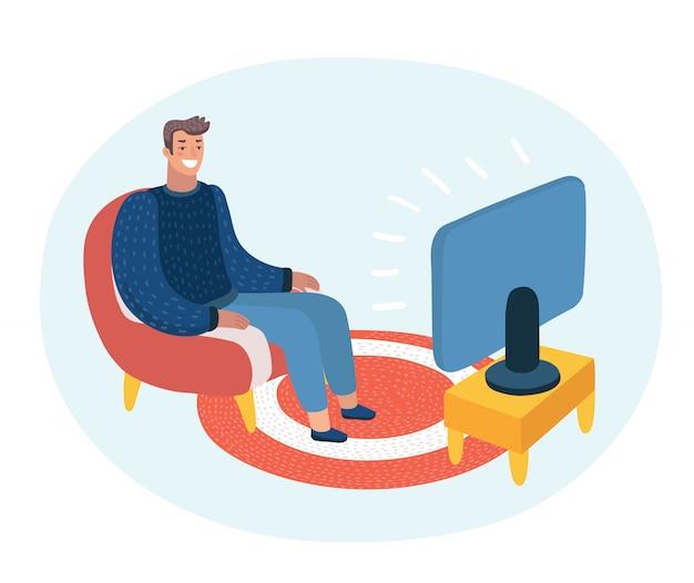 ソファに座ってテレビを見て、彼の上のバブルのスピーチを話している男の漫画面白いイラスト Premiumベクター
