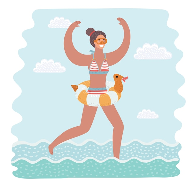Cartoon funny illustration of slim and attractive young woman in yellow swimsuit running in seawater going to swim. rubber ring. colorful isolated character on white background. Premium Vector