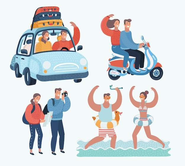Cartoon funny illustration of young tourists couple. family on vacation. together scene. by car, riding on scooter, take photo of sights and splashing in the sea on resort. Premium Vector