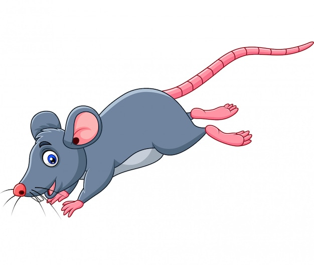 Cartoon funny mouse jumping Premium Vector