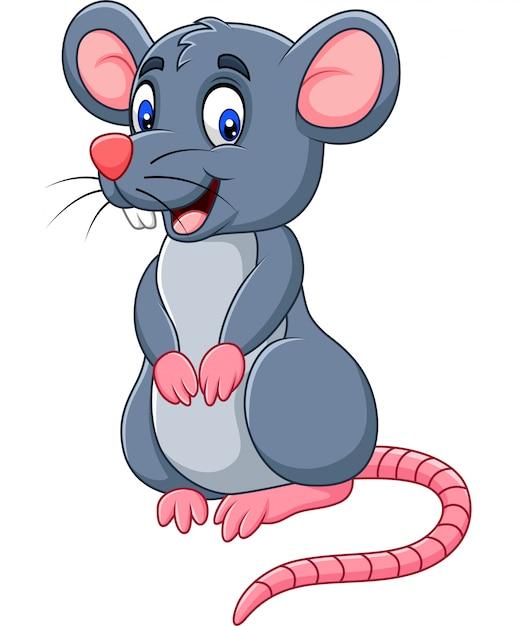 Cartoon funny mouse Premium Vector