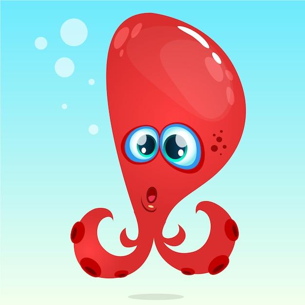 Мультфильм смешной осьминог иллюстрация Premium векторы