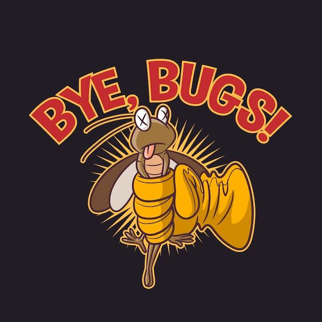 Cartoon funny pest terminator character mascot logo Premium Vector