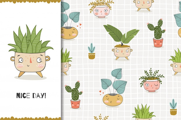 Cartoon funny plant in pot. card template and seamless   pattern. hand drawn   desig Premium Vector