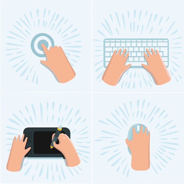 Cartoon funny set of illustration of hand touch screen by finger, draw on graphic tablet on the desk, on computer mouse, working on keyboard at work space. top view Premium Vector