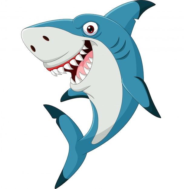 Мультяшная смешная акула на белом Premium векторы