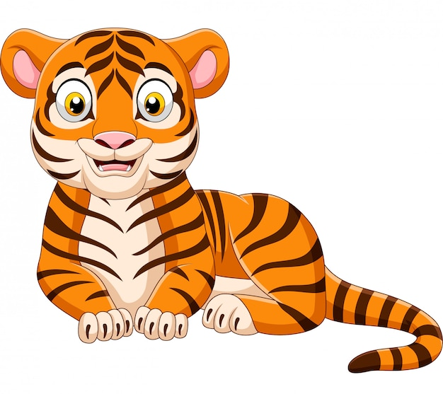 Cartoon funny tiger isolated on white background Premium Vector