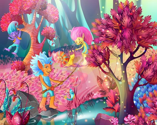 Cartoon game design magic illustration Free Vector