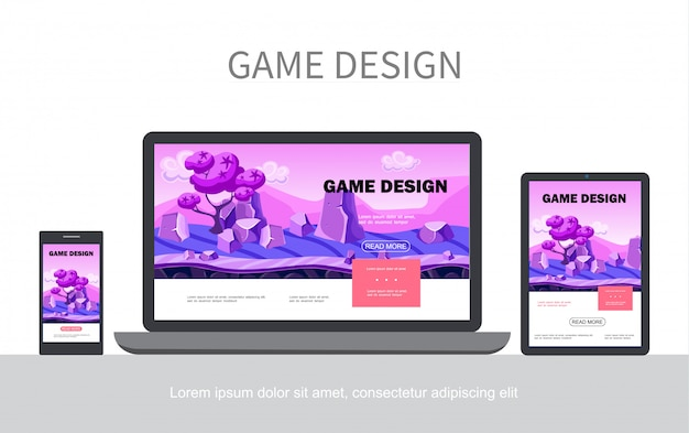 Cartoon game design ui web template with fantasy landscape trees stones adaptive for mobile laptop tablet screens isolated Free Vector