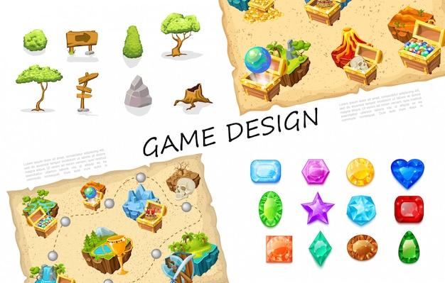 나무 간판 돌 부시 보물 상자 화산 자연 섬 두개골 레벨 디자인 무기 화려한 보석 만화 게임 요소 컬렉션 무료 벡터