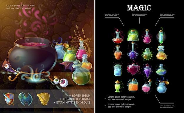 中世の武器魔女の大釜のボトルと異なるカラフルな魔法のポーションとエリクサーのフラスコの漫画ゲーム要素構成 無料ベクター