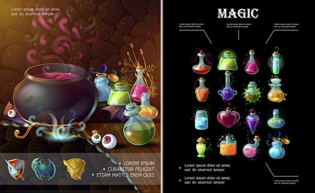 Cartoon game elements composition with medieval weapons witch cauldron bottles and flasks of different colorful magic potions and elixirs Free Vector