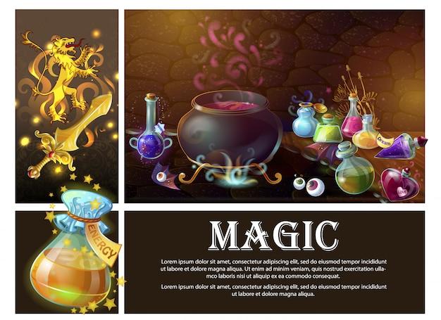 Cartoon elementi di gioco composizione con spada araldico leone reale occhi umani strega calderone e bottiglie di pozioni magiche Vettore gratuito