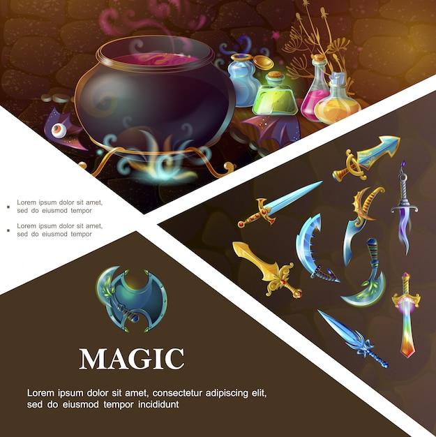 盾剣サーベル短剣魔女の大釜とカラフルな魔法のポーションのボトルと漫画ゲーム要素テンプレート 無料ベクター