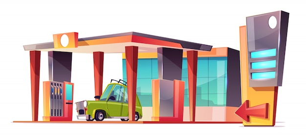 Cartoon gas station Free Vector