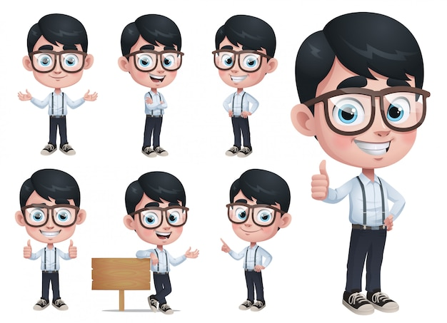 Cartoon geek boy mascot Premium Vector