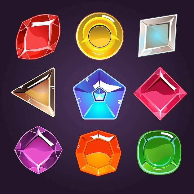 Набор драгоценных камней и бриллиантов Premium векторы