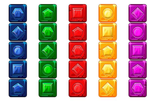 Мультяшные драгоценные камни, разноцветные кнопки vecor stone for ui game Premium векторы