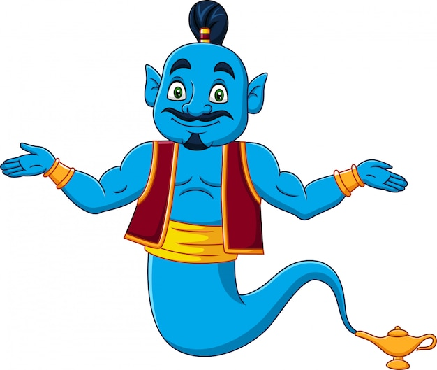 Cartoon genie appear from magic lamp Premium Vector