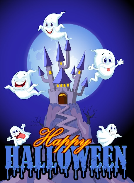 Cartoon ghost with castle and moon backkground Premium Vector