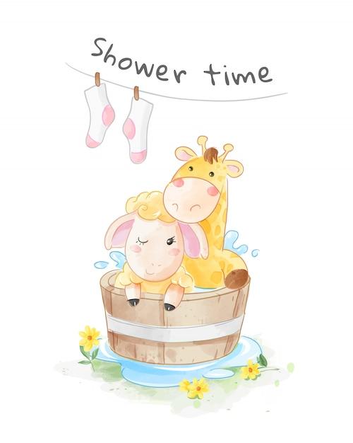 Мультяшный жираф и овца в деревянной ванной иллюстрации Premium векторы