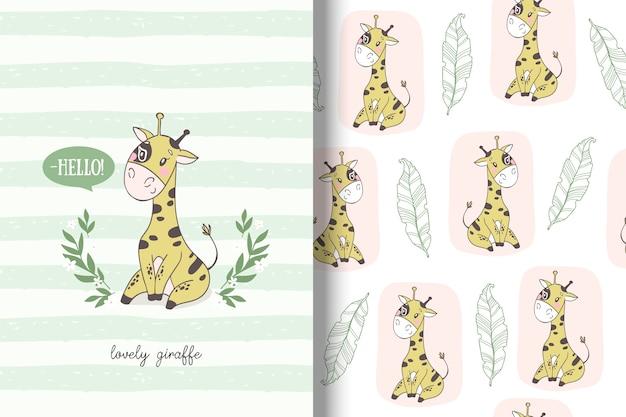 Cartoon giraffe card and seamless pattern Premium Vector