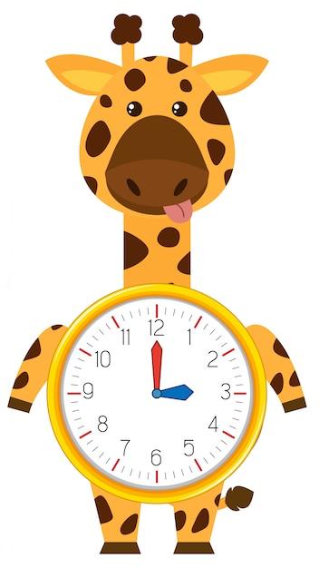 Cartoon giraffe on clock template Premium Vector