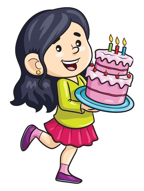 Мультяшная девушка принесла торт ко дню рождения Premium векторы