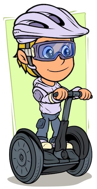 Cartoon girl character riding on electric scooter Premium Vector