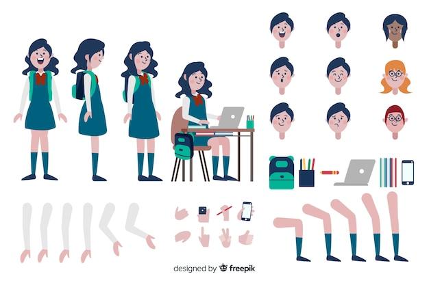 Cartoon girl character template Free Vector