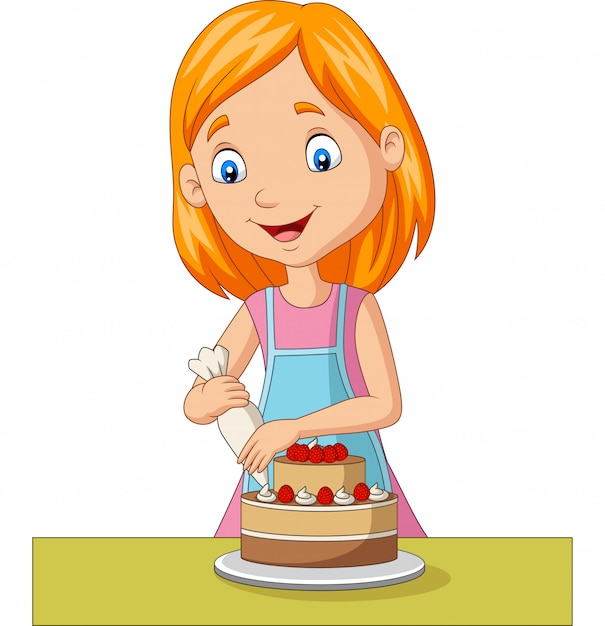 Cartoon girl decorating a cake Premium Vector