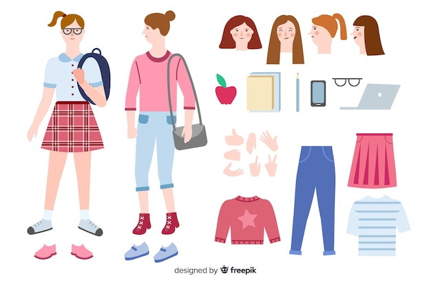 Cartoon girl for motion design Vector | Free Download