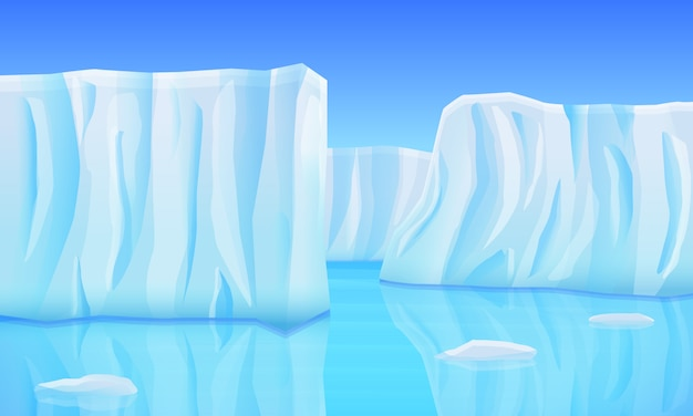 Мультяшный ледники в океане, векторная иллюстрация Premium векторы