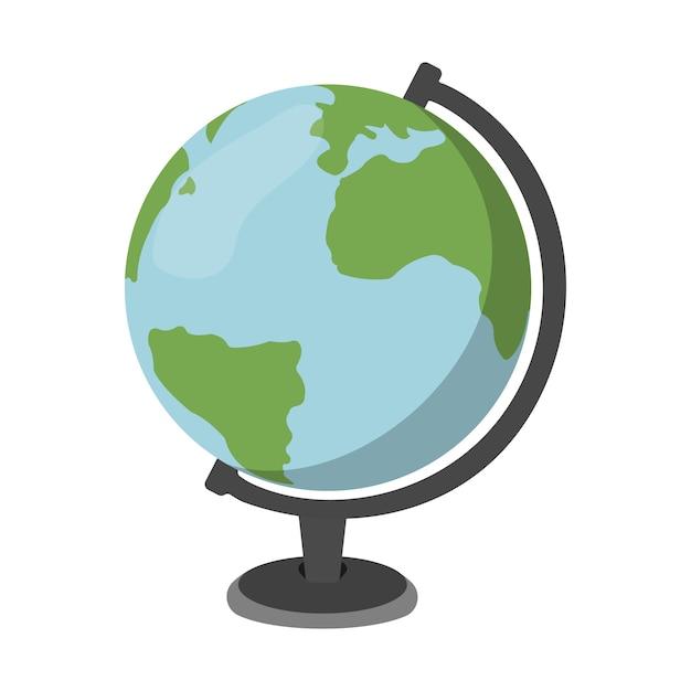 Premium Vector | Cartoon globe. schools supplies. isolated vector  illustration.