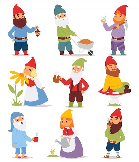 Персонажи мультфильмов гномов. Premium векторы